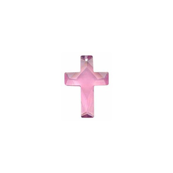 18X25 FACETED CZ CROSS PINK