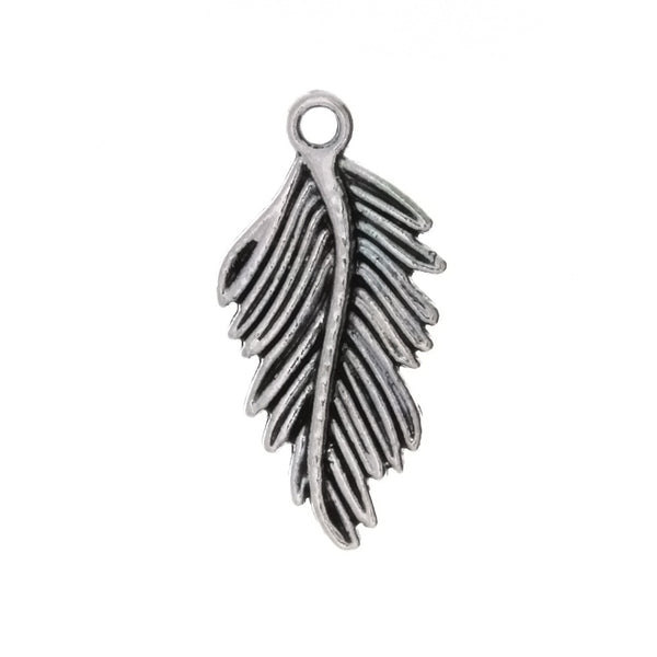 NATURE FEATHER 15 X 28 MM PEWTER CHARM