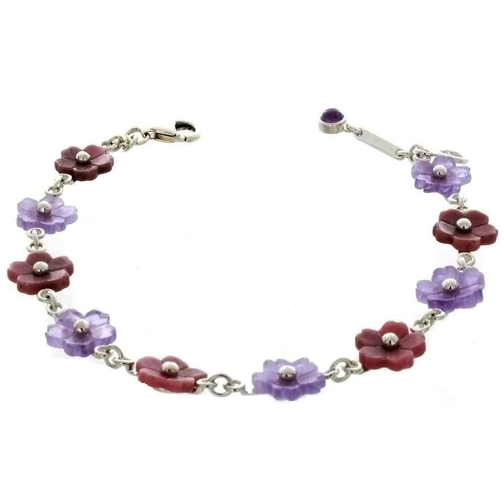 LINK RHODONITE & PURPLE JADE FLOWER SS BRACELET
