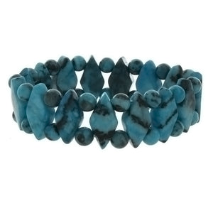 STRETCH GEMSTONE KIWI STONE BLUE PRINCESS BRACELET