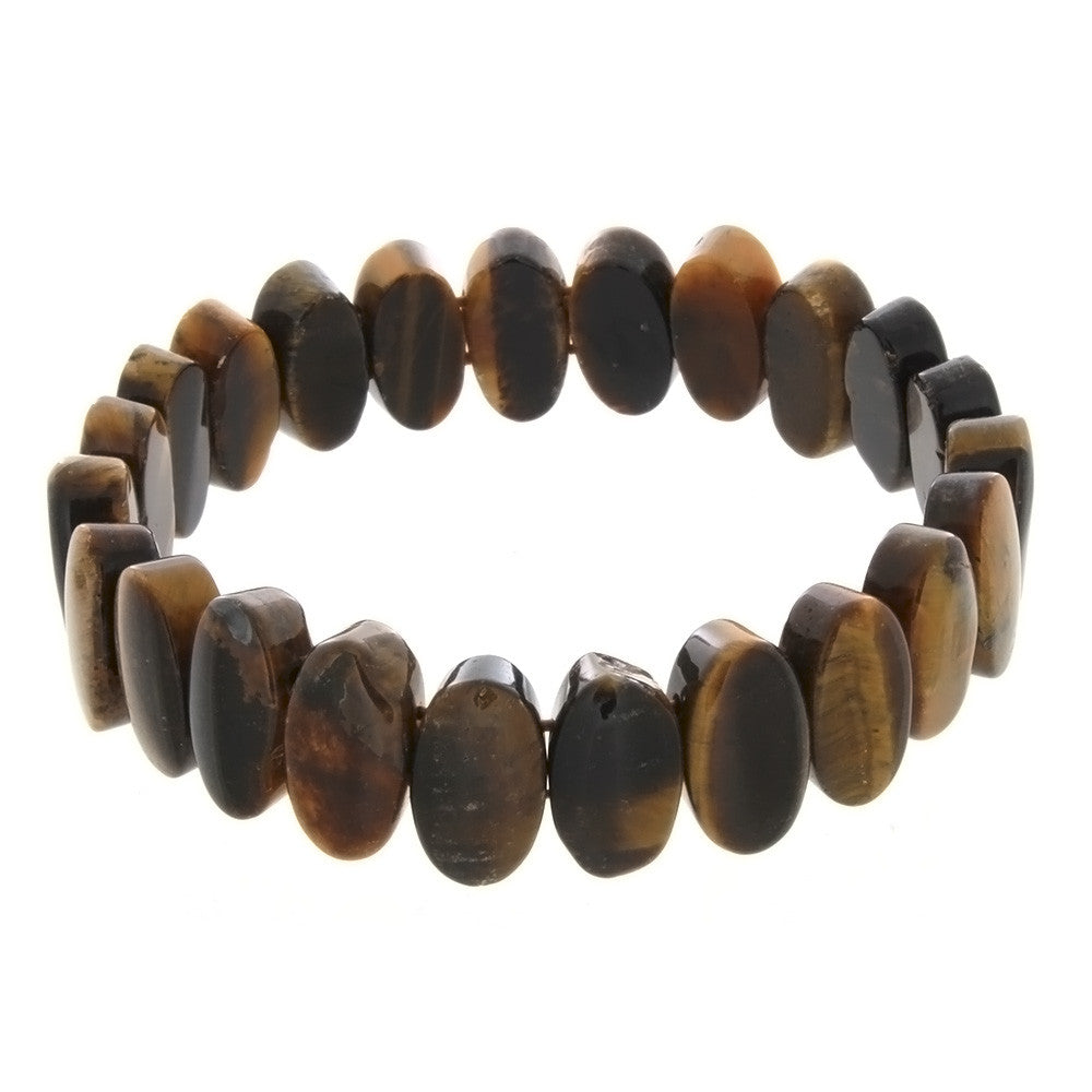 STRETCH GEMSTONE TIGER'S EYE OVAL BRACELET