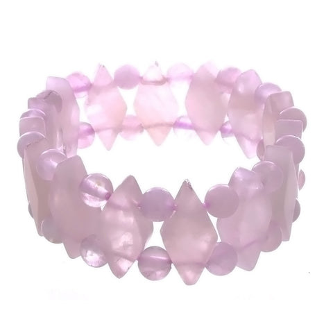 STRETCH GEMSTONE ROSE QUARTZ PRINCESS BRACELET