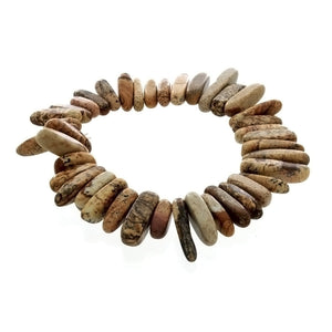 STRETCH GEMSTONE PICTURE JASPER NEEDLE BRACELET