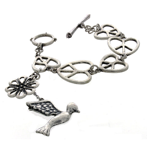 LINK HEART-SHAPED PEACE SIGN W/ BIRD CHARM BRACELET