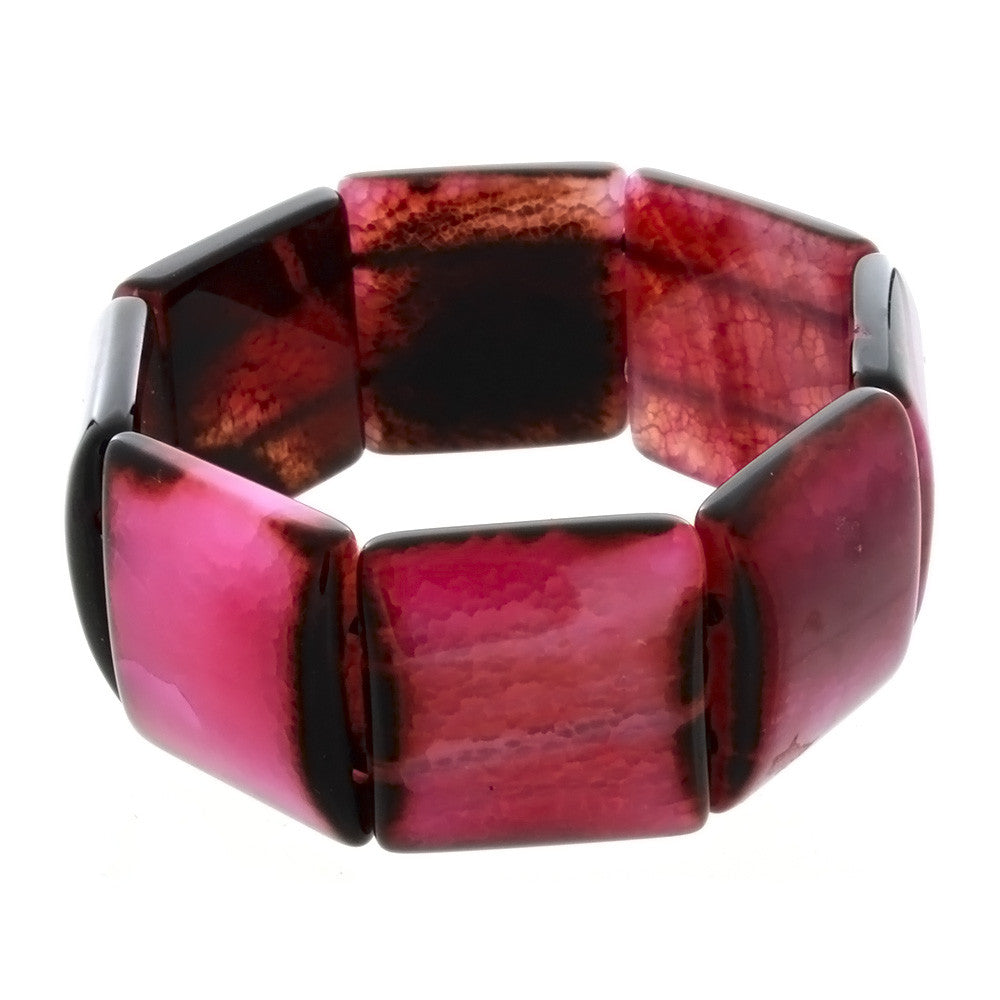 STRETCH GEMSTONE FIRE AGATE PINK SQUARE BRACELET