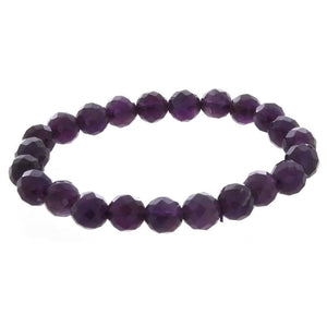 STRETCH GEMSTONE AMETHYST ROUND FACETED BRACELET