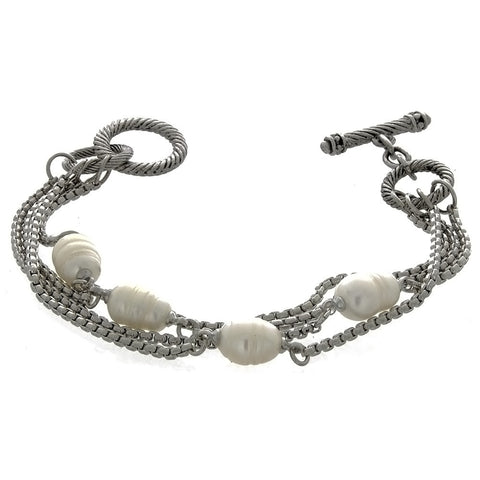 CHAIN CABLE FRESHWATER PEARL SILVER BRACELET