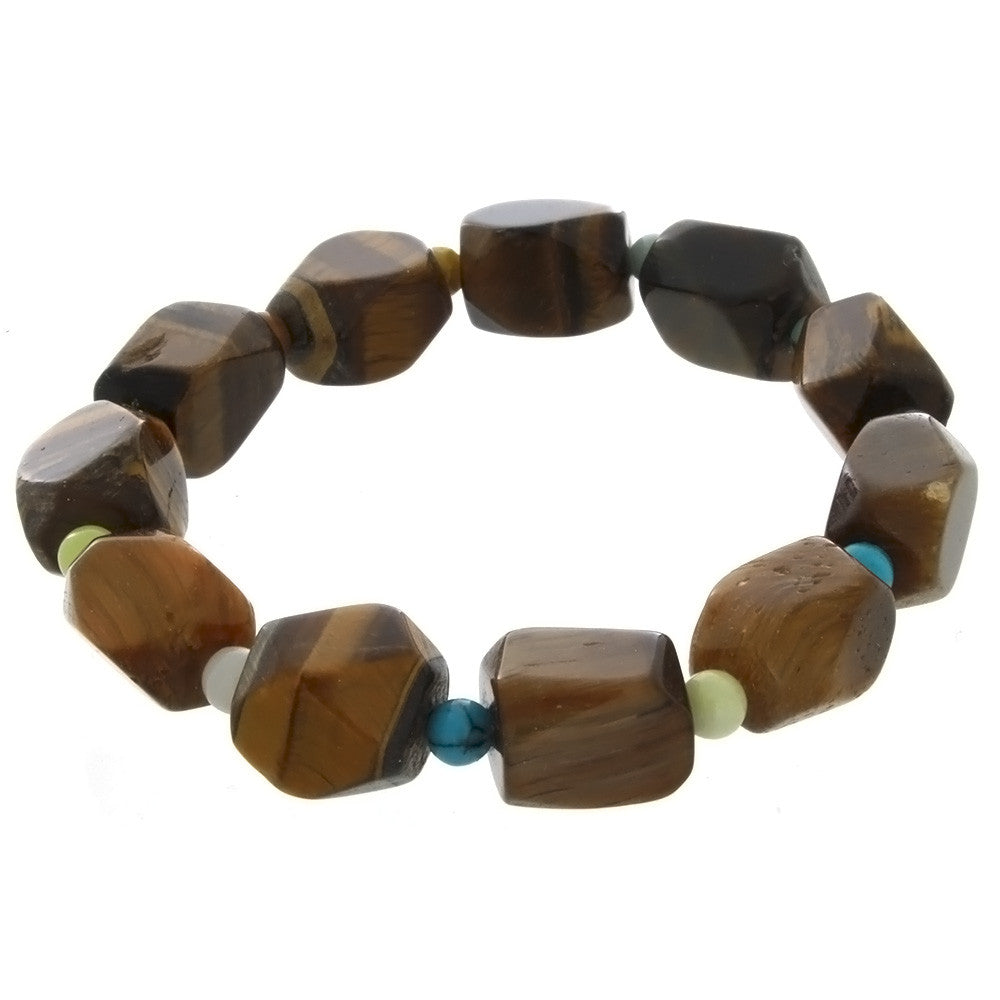 STRETCH GEMSTONE TIGER'S EYE NUGGET BRACELET