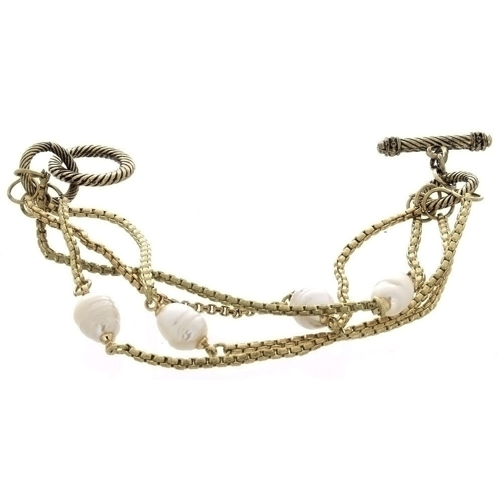 CHAIN CABLE FRESHWATER PEARL GOLD BRACELET