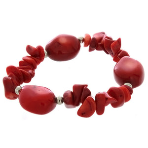 STRETCH GEMSTONE CORAL RED CHIP & NUGGET BRACELET