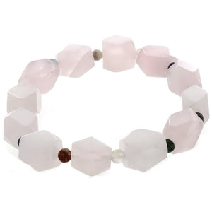STRETCH GEMSTONE ROSE QUARTZ NUGGET BRACELET