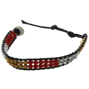 TREND LEATHER FACETED CRYSTAL BRACELET