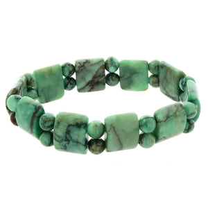 STRETCH GEMSTONE MATRIX STONE GREEN TANKER BRACELET
