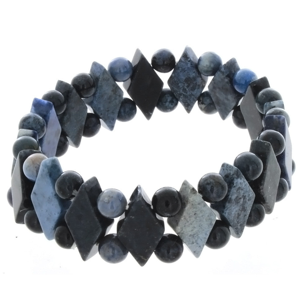STRETCH GEMSTONE DUMORTIERITE PRINCESS BRACELET