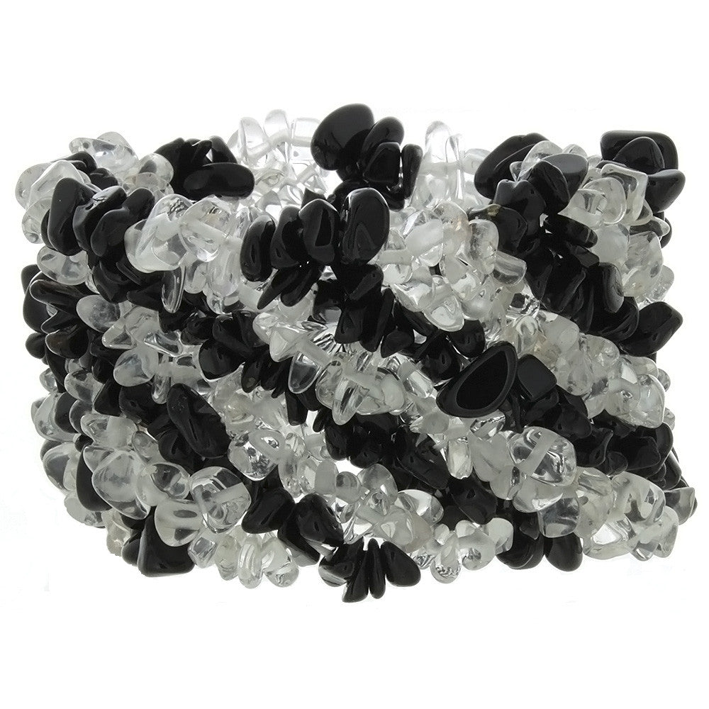 STRETCH GEMSTONE BLACK ONYX & CRYSTAL QUARTZ CHIP BRACELET
