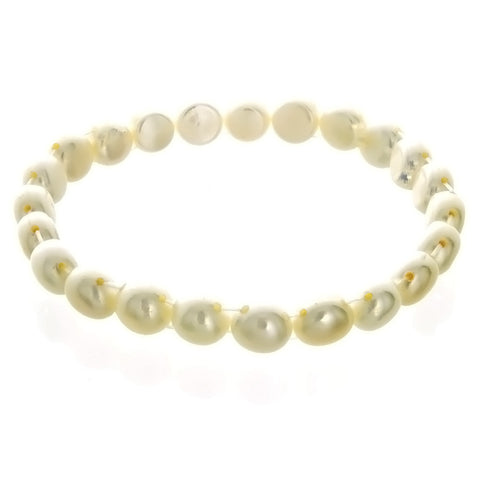 STRETCH FRESHWATER PEARL BUTTON BRACELET