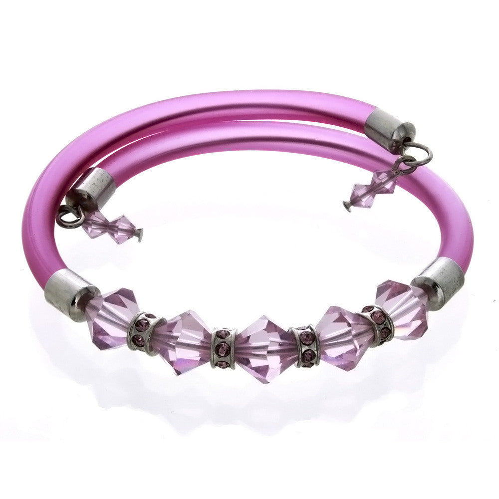 WRAP MEMORY FACETED CRYSTAL PURPLE BRACELET