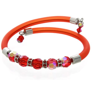 WRAP MEMORY FACETED CRYSTAL RED BRACELET
