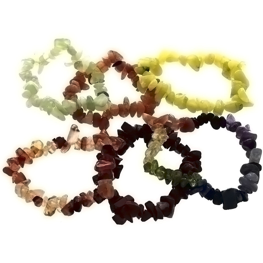 STRETCH GEMSTONE VARIOUS CHIP BRACELET (6)