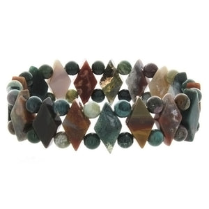 STRETCH GEMSTONE FANCY JASPER PRINCESS BRACELET