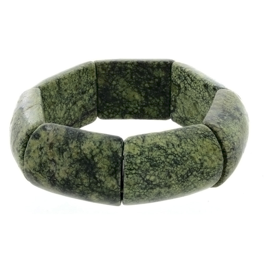 STRETCH GEMSTONE RUSSIAN JADE SLAB BRACELET
