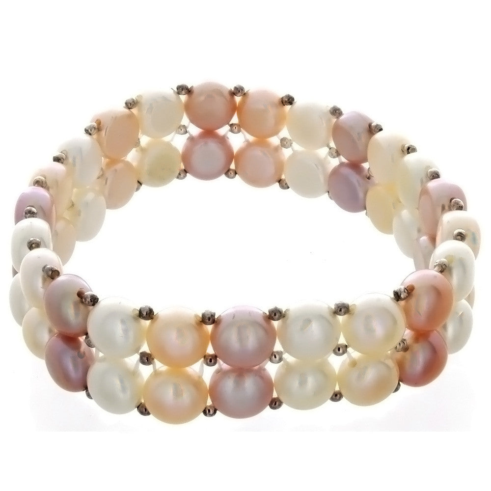 STRETCH FRESHWATER PEARL W/ SS SPACER BRACELET