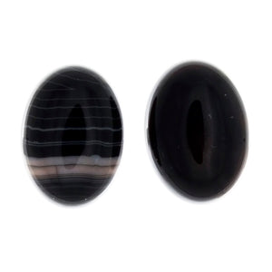 GEMSTONE AGATE BLACK CABOCHON 13 X 18 MM