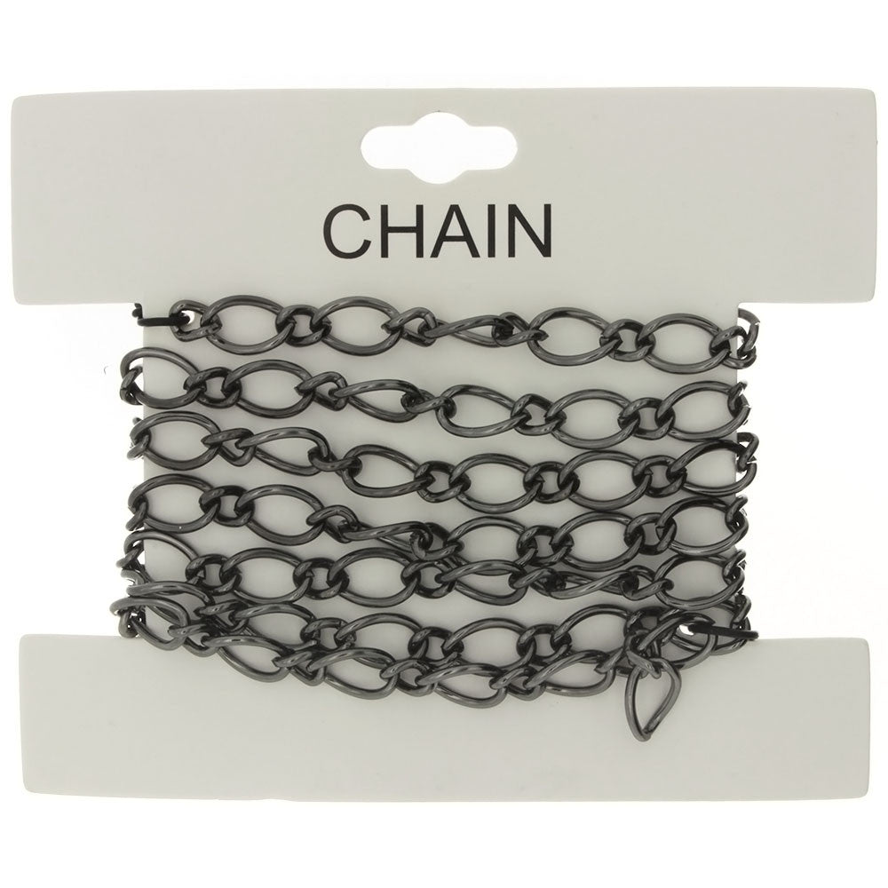 CHAIN NO-CLASP FIGARO GUNMETAL 6 MM X 1 YD