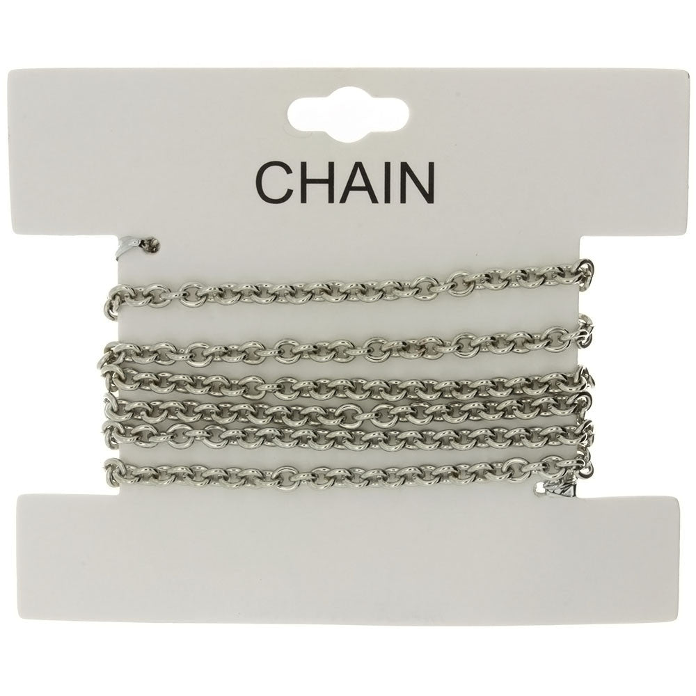CHAIN NO-CLASP CABLE RHODIUM 3.5 MM X 1 YD