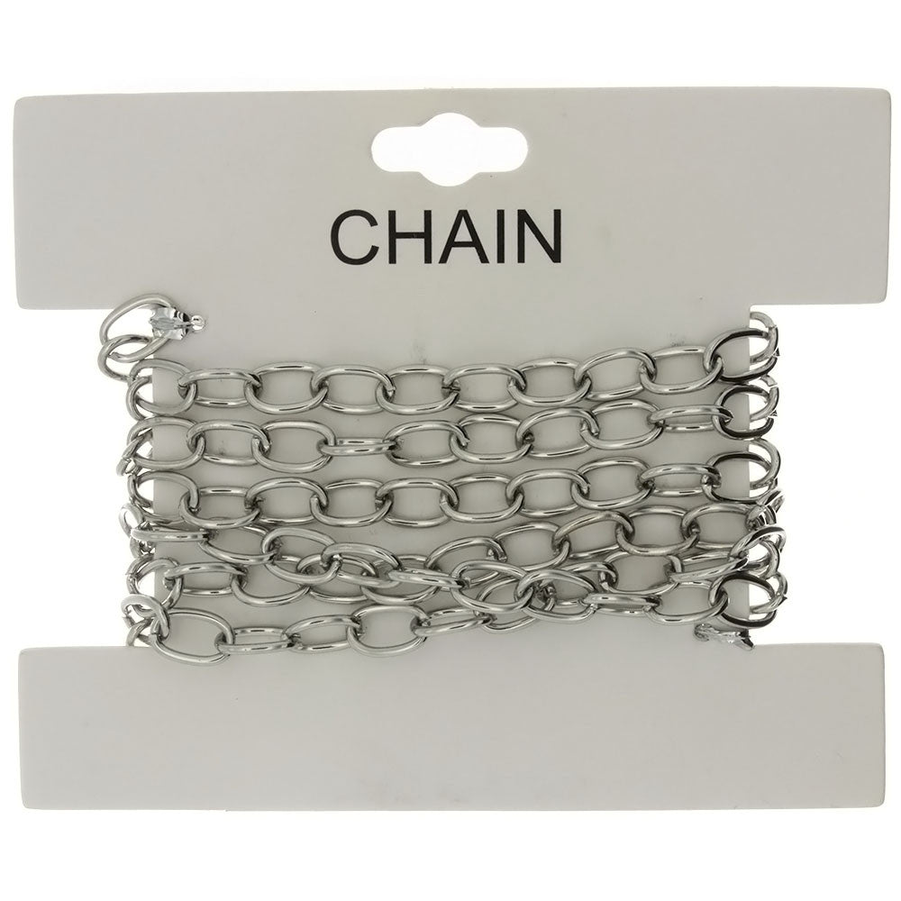 CHAIN NO-CLASP CABLE RHODIUM 6 MM X 1 YD