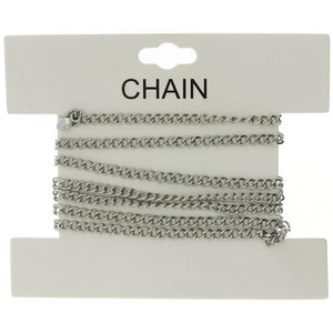 CHAIN NO-CLASP CURB RHODIUM 3 MM X 1 YD