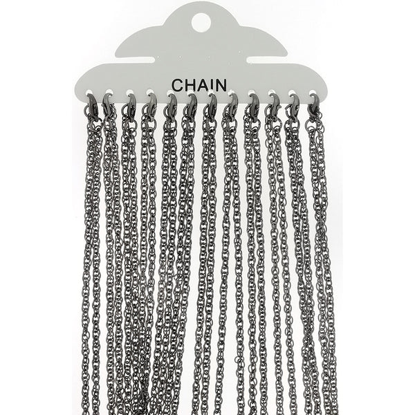 CHAIN NECKLACE ROPE GUNMETAL 3 MM X 18 IN (DOZ)