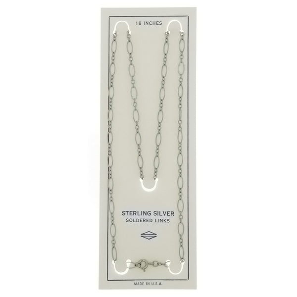 CHAIN NECKLACE LOOP LINK SS 3 MM X 18 IN