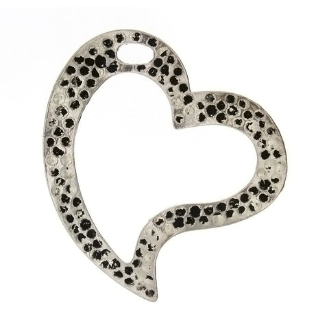 DESIGN HEART 52 MM PEWTER CHARM