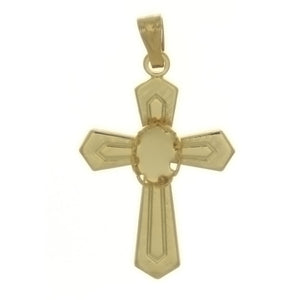 Cabochon Setting Cross Pendant Hods 4x6 mm Cabochon