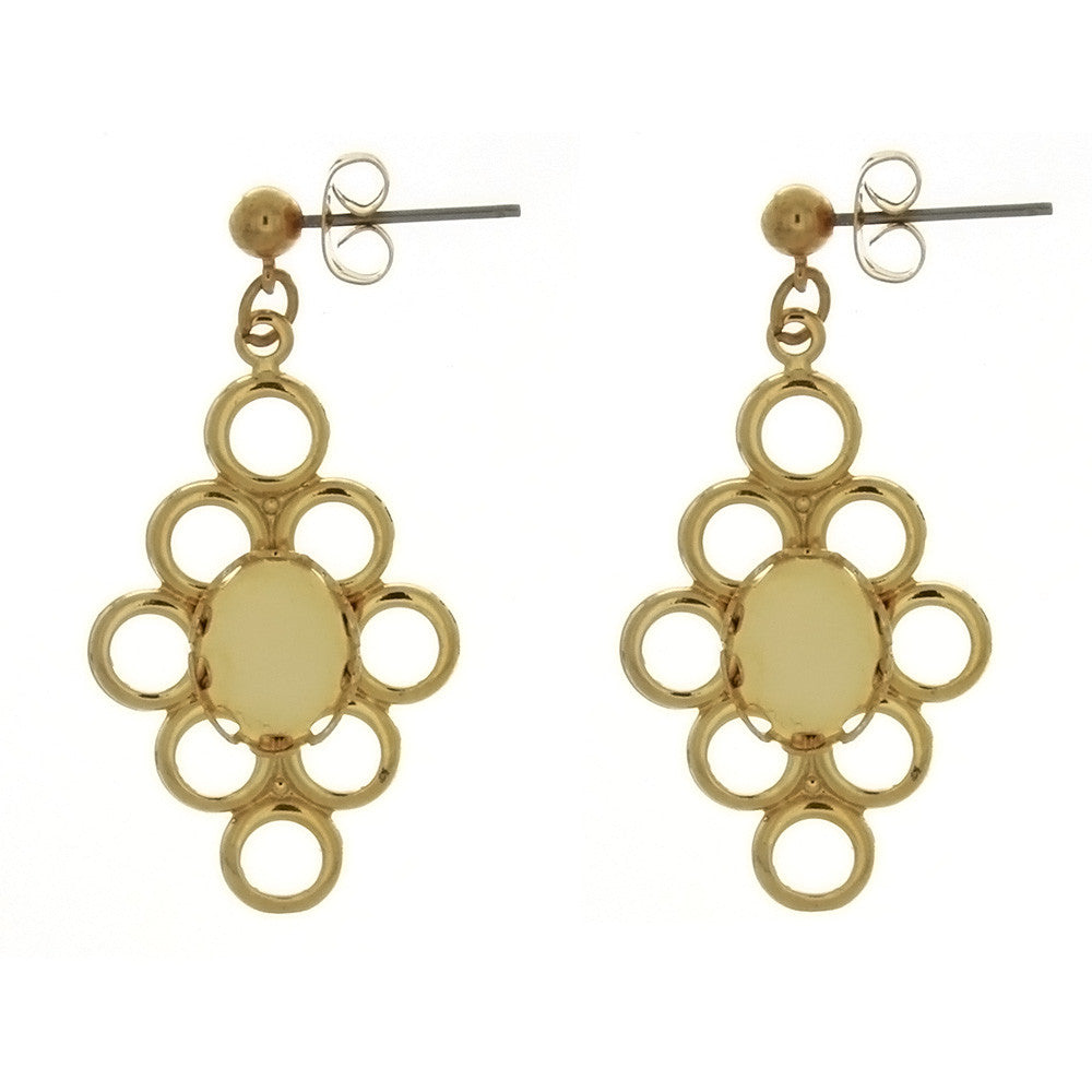 DROP CABOCHON FLOWER 8 X 10 MM EARRINGS