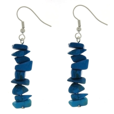 DANGLE CHIP BLUE HOWLITE EARRINGS