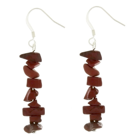 DANGLE CHIP RED JASPER EARRINGS