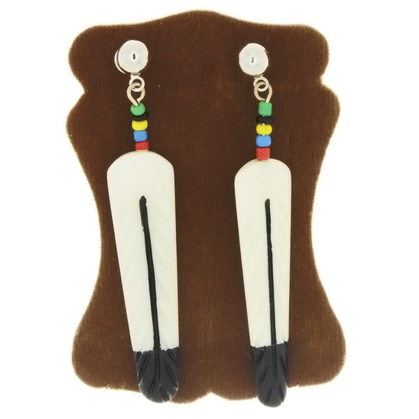 DANGLE BONE FEATHER EARRINGS