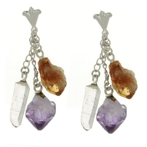 DANGLE AMETHYST & CITRINE NUGGET W/ QUARTZ POINT EARRINGS