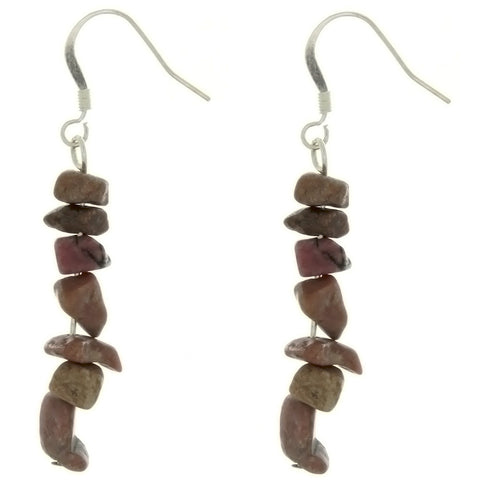 DANGLE CHIP RHODONITE EARRINGS