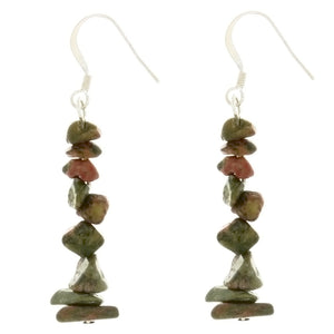DANGLE CHIP UNAKITE EARRINGS