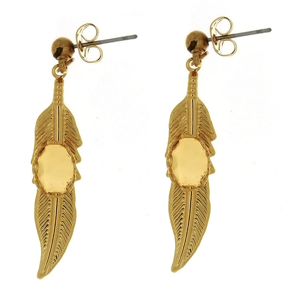 DROP CABOCHON FEATHER 6 X 8 MM EARRINGS