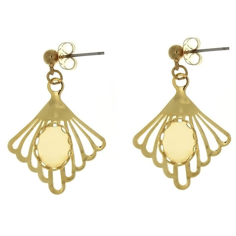 DROP CABOCHON FAN 8 X 10 MM EARRINGS