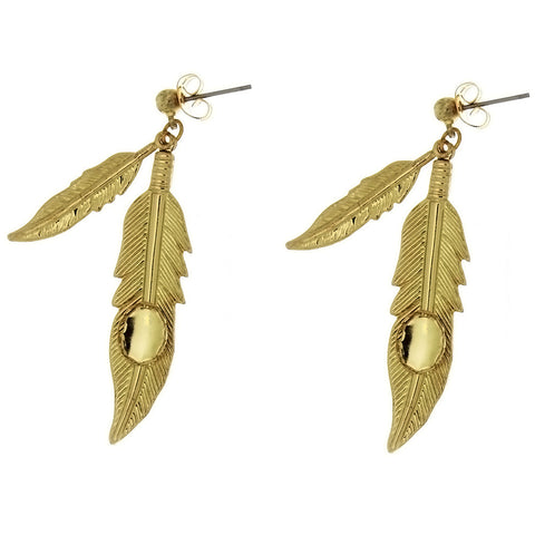 DANGLE CABOCHON DOUBLE FEATHER 6 X 8 MM EARRINGS