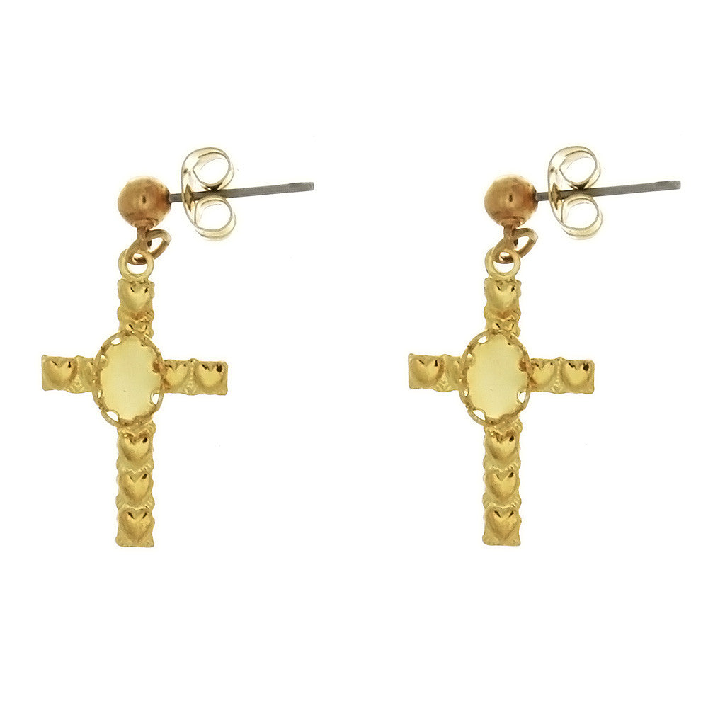 DROP CABOCHON CROSS 4 X 6 MM EARRINGS