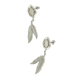 DANGLE CABOCHON W/ DOUBLE FEATHER 8 X 10 MM EARRINGS