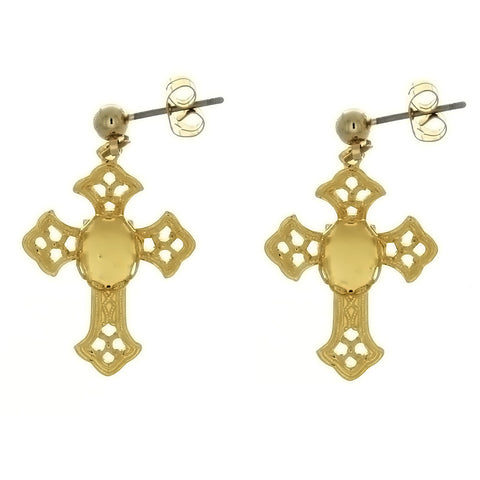 DROP CABOCHON CROSS 6 X 8 MM EARRINGS