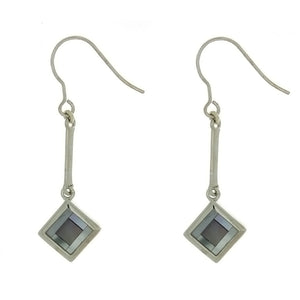 DANGLE MOTHER OF PEARL DIAMOND SS EARRINGS