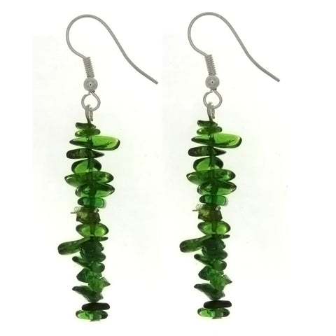 DANGLE CHIP CHROME DIOPSIDE EARRINGS